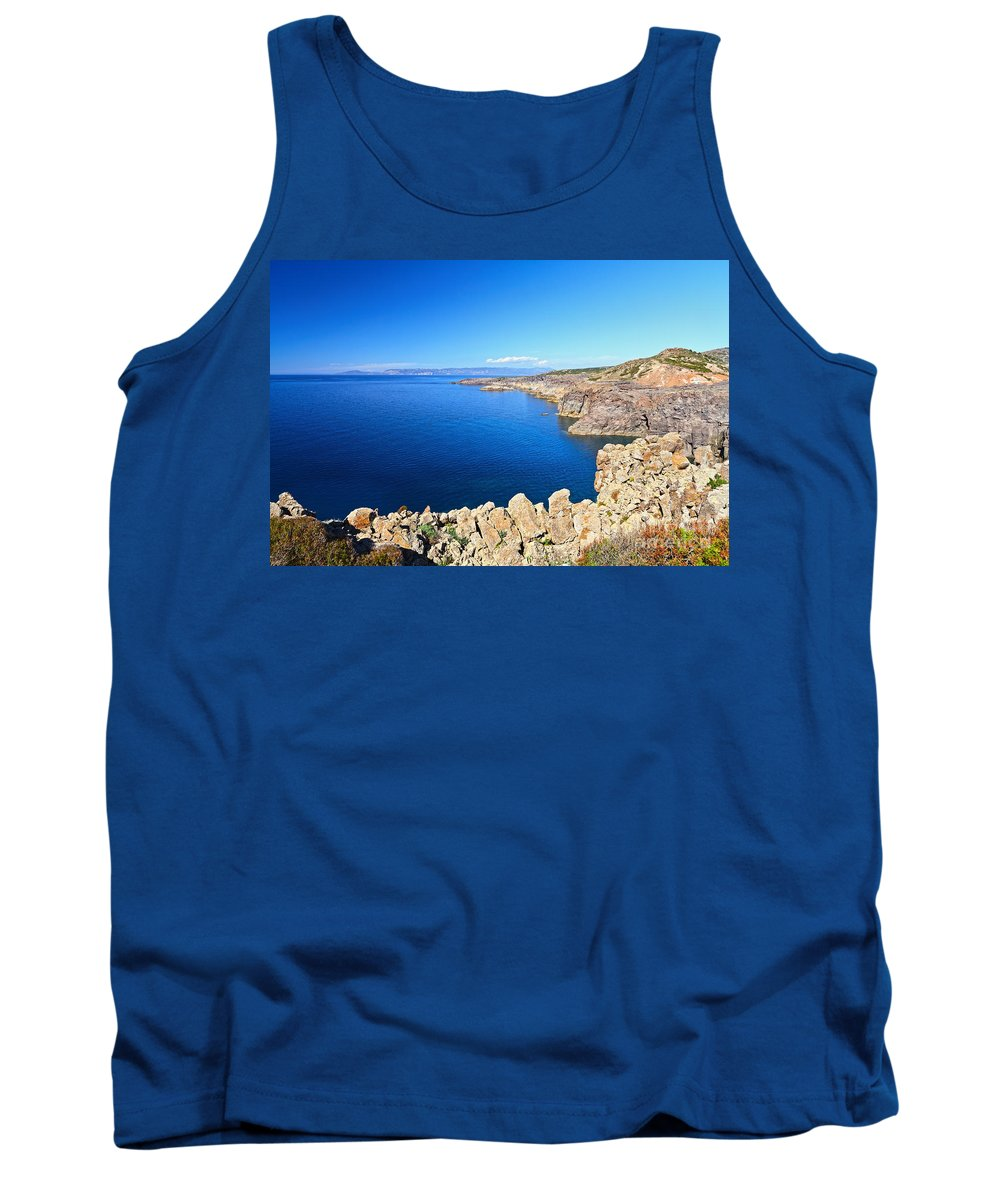 Cape Tank Top featuring the photograph cliff in San Pietro Island by Antonio Scarpi
