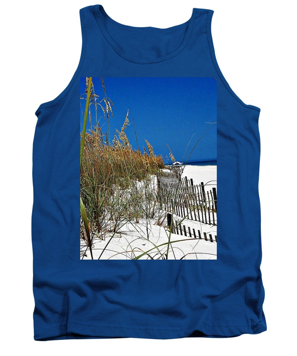 Florida National Seashore Tank Top featuring the photograph Dune Fence Me In by Mary Marsh