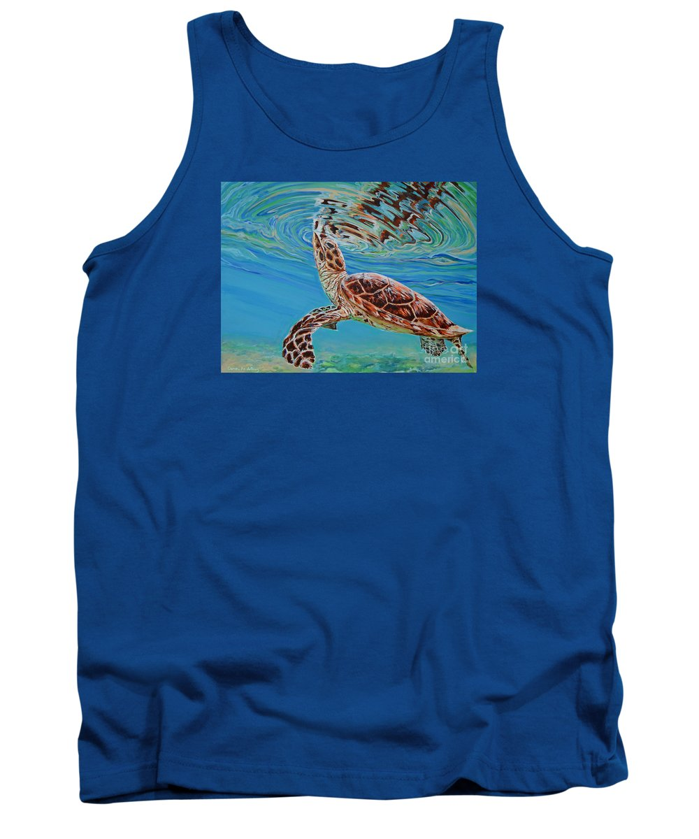 Beach Tank Top featuring the painting Green Turtle by Paola Correa de Albury
