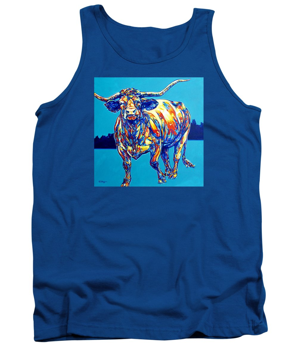 Animal Tank Top featuring the painting Longhorn by Derrick Higgins