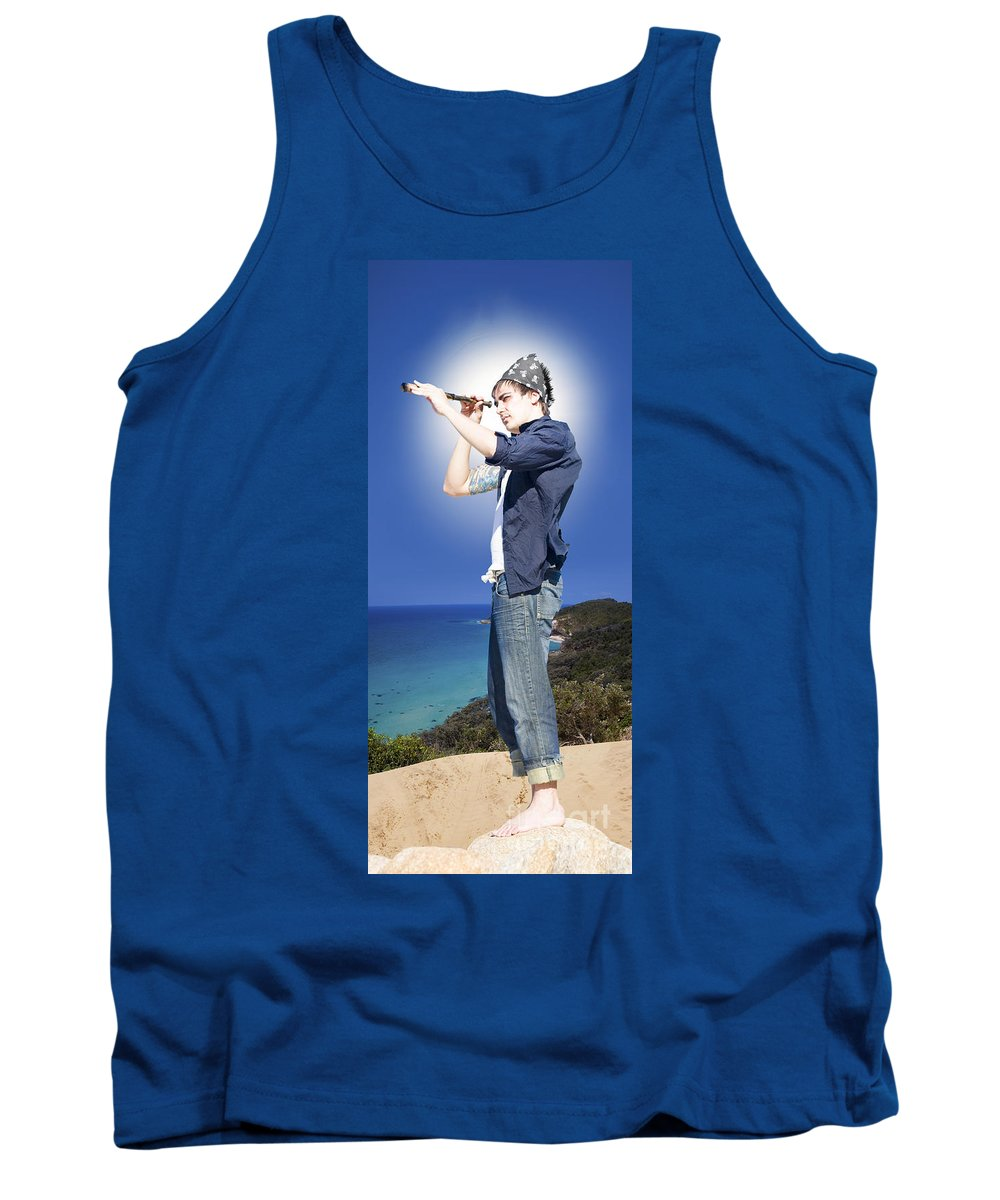 Caucasian Tank Top featuring the photograph Pirate With Spyglass by Jorgo Photography - Wall Art Gallery