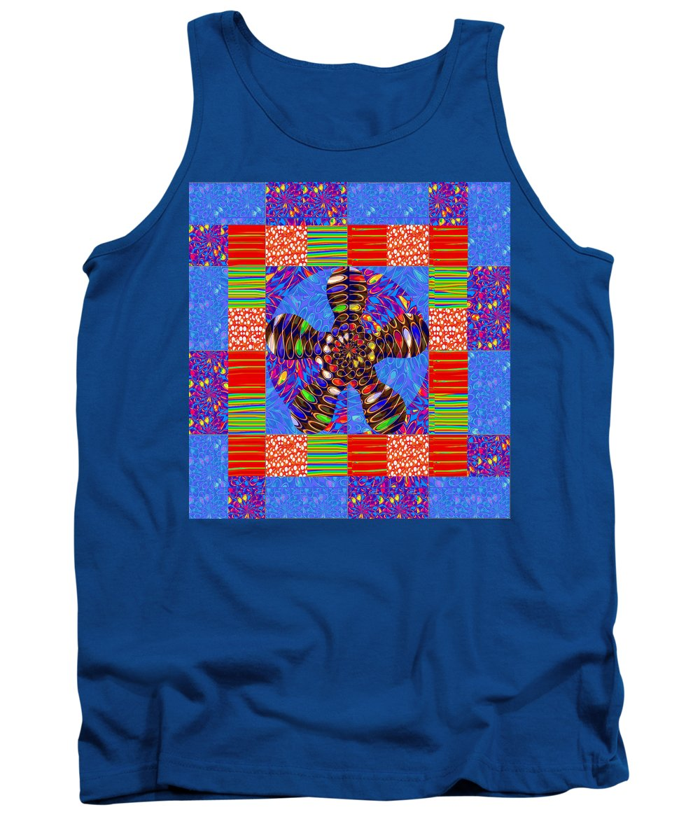 Squares Tank Top featuring the mixed media Squares Lines Dots Symbol Infinity Red Purple Blue Green Colorful Waves Unique Background Designs A by Navin Joshi