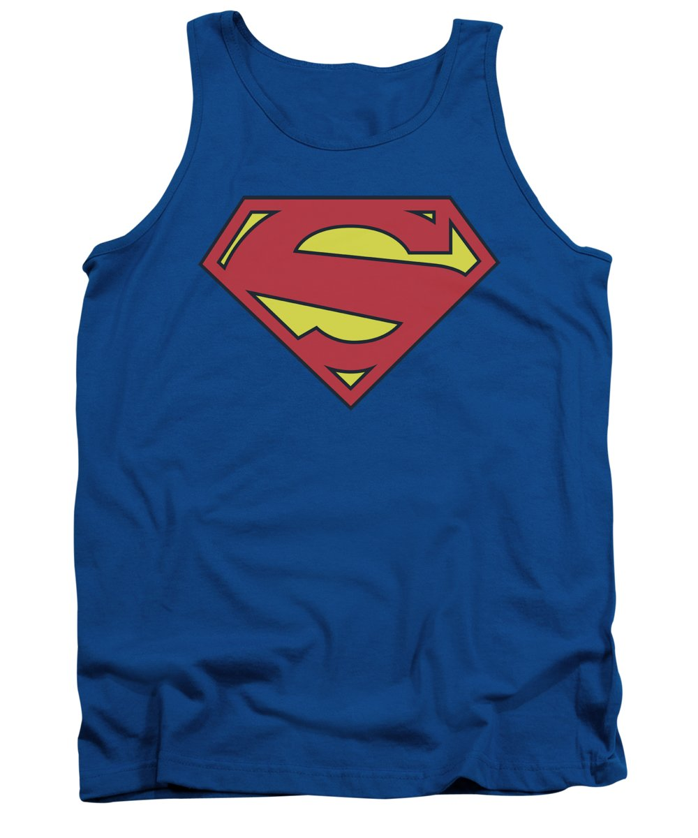 Superman Tank Top featuring the digital art Superman - New 52 Shield by Brand A