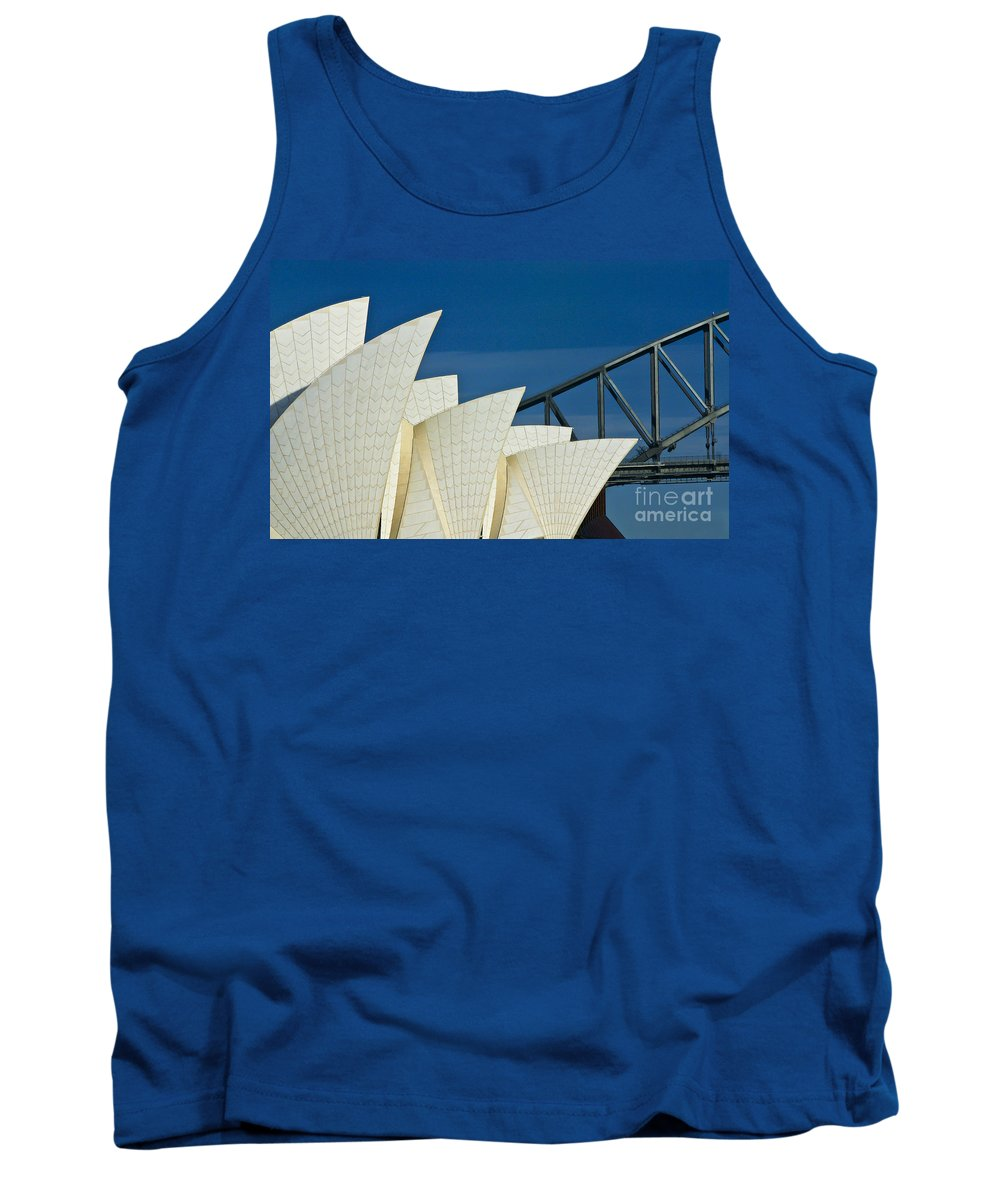 Sydney Harbour Tank Top featuring the photograph Sydney Opera House with Bridge backdrop by Sheila Smart Fine Art Photography