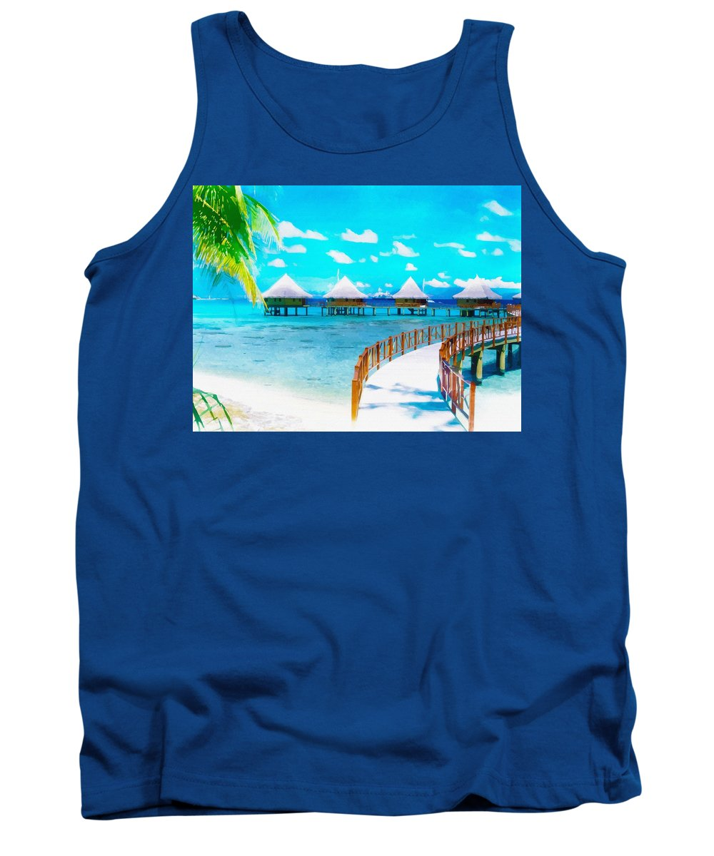 Water Tank Top featuring the digital art White Bay by Don Kuing