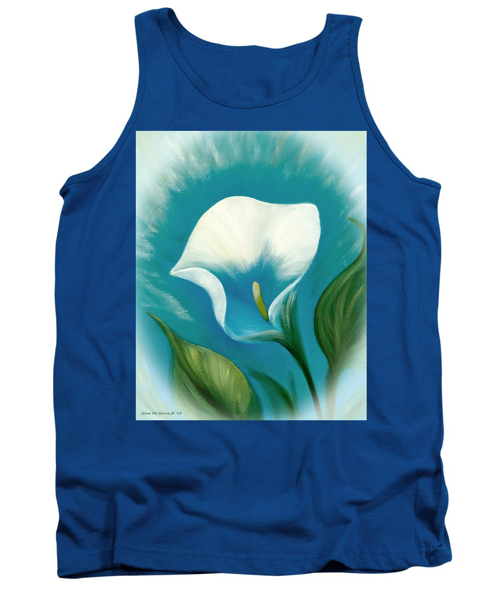 Flower Tank Top featuring the mixed media White Flower by Gina De Gorna