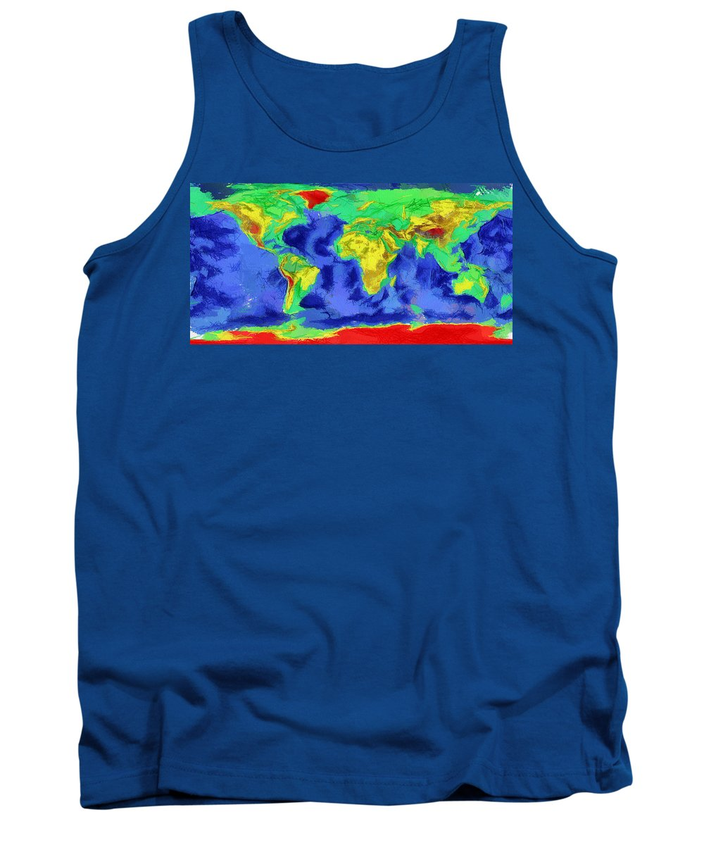 Map Of The World Tank Top featuring the painting World Map Art by Georgi Dimitrov