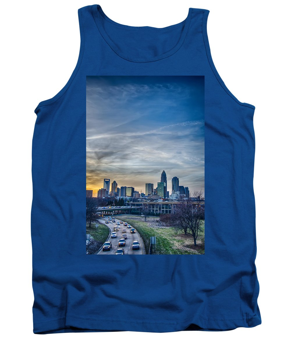 Sunset Tank Top featuring the photograph Charlotte Downtown by Alex Grichenko