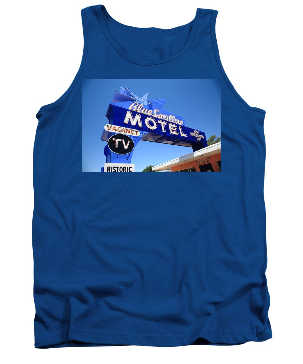 66 Tank Top featuring the photograph Route 66 - Blue Swallow Motel by Frank Romeo
