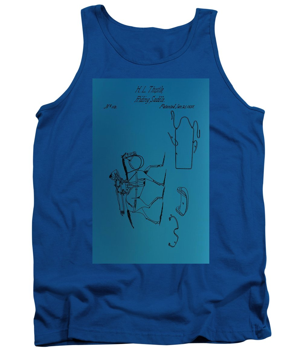 1837 Riding Saddle Patent Tank Top featuring the digital art 1837 Riding Saddle Patent by Dan Sproul