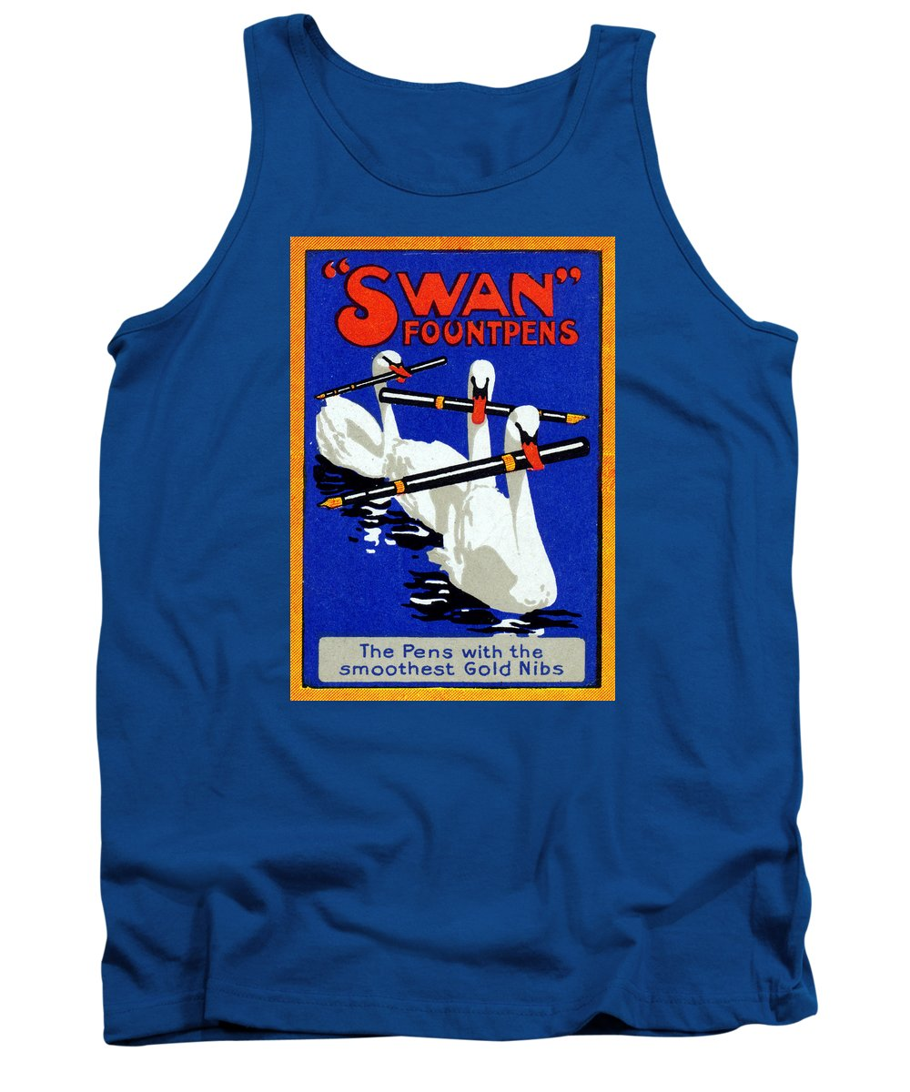 Swan Tank Top featuring the painting 1920 Swan Fountain Pens by Historic Image