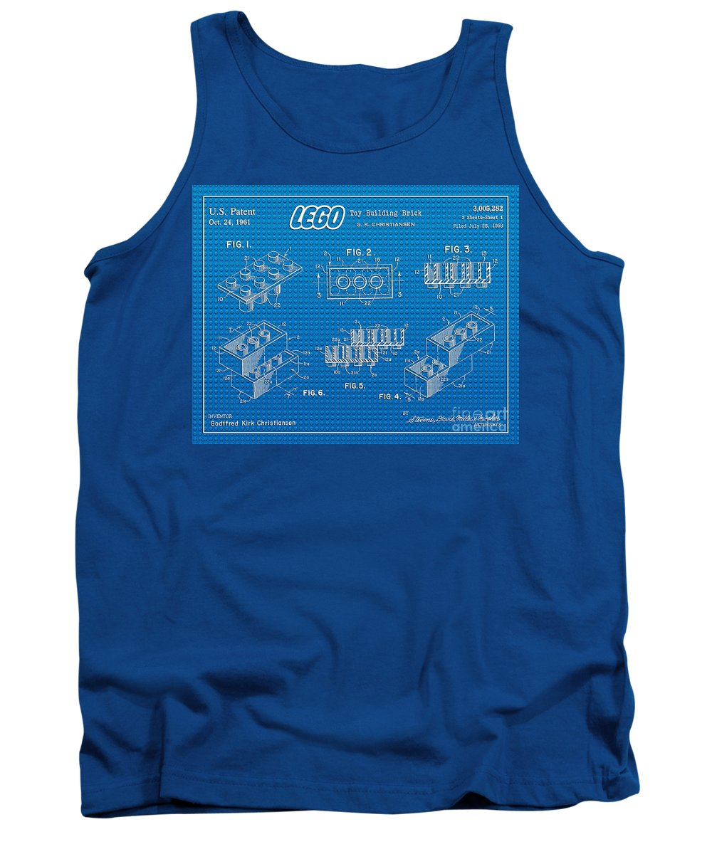 Lego Patent Tank Top featuring the digital art 1961 Lego Building Blocks Patent Art 2 by Nishanth Gopinathan