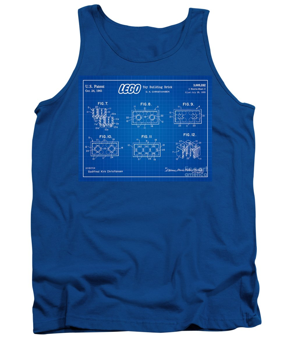 Lego Patent Tank Top featuring the digital art 1961 Lego Building Blocks Patent Art 4 by Nishanth Gopinathan