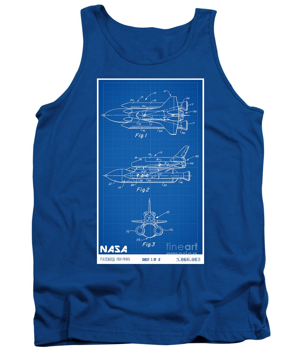 Nasa Tank Top featuring the digital art 1975 Nasa Space Shuttle Patent Art 1 by Nishanth Gopinathan