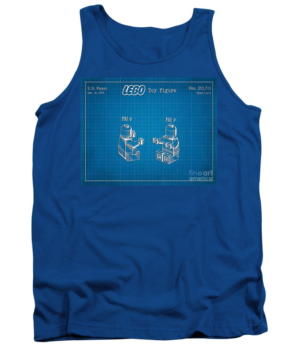 Lego Patent Tank Top featuring the digital art 1979 Lego Minifigure Toy Patent Art 3 by Nishanth Gopinathan