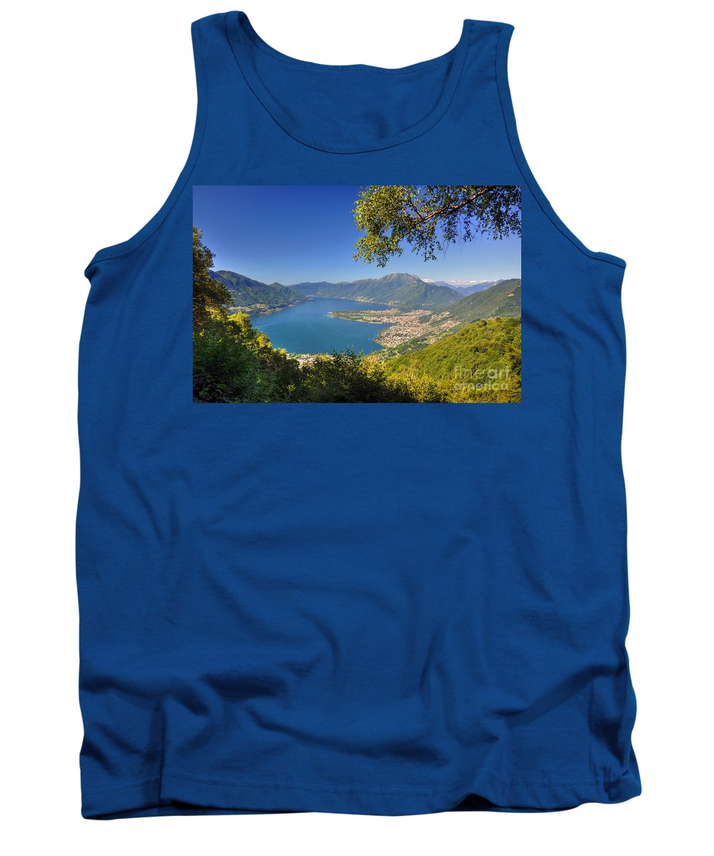 Panoramic View Tank Top featuring the photograph Panoramic View Over An Alpine Lake by Mats Silvan