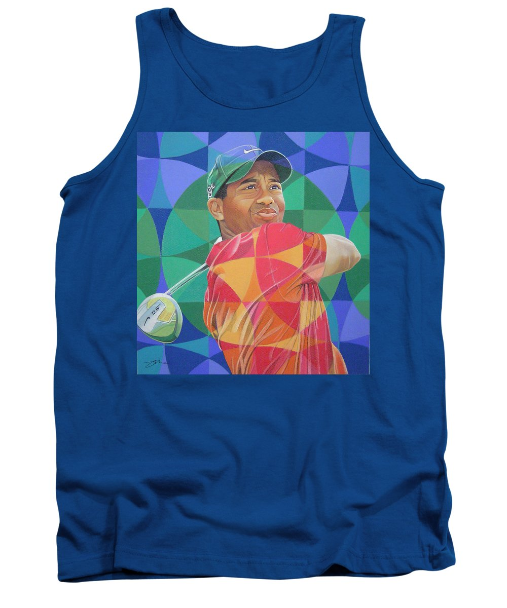 Tiger Woods Tank Top featuring the drawing Tiger Woods by Joshua Morton