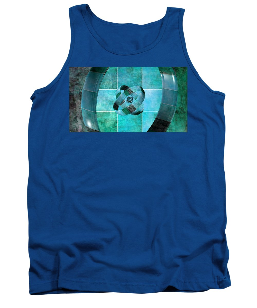 Abstract Tank Top featuring the digital art 3 By 3 Ocean Rings by Angelina Tamez