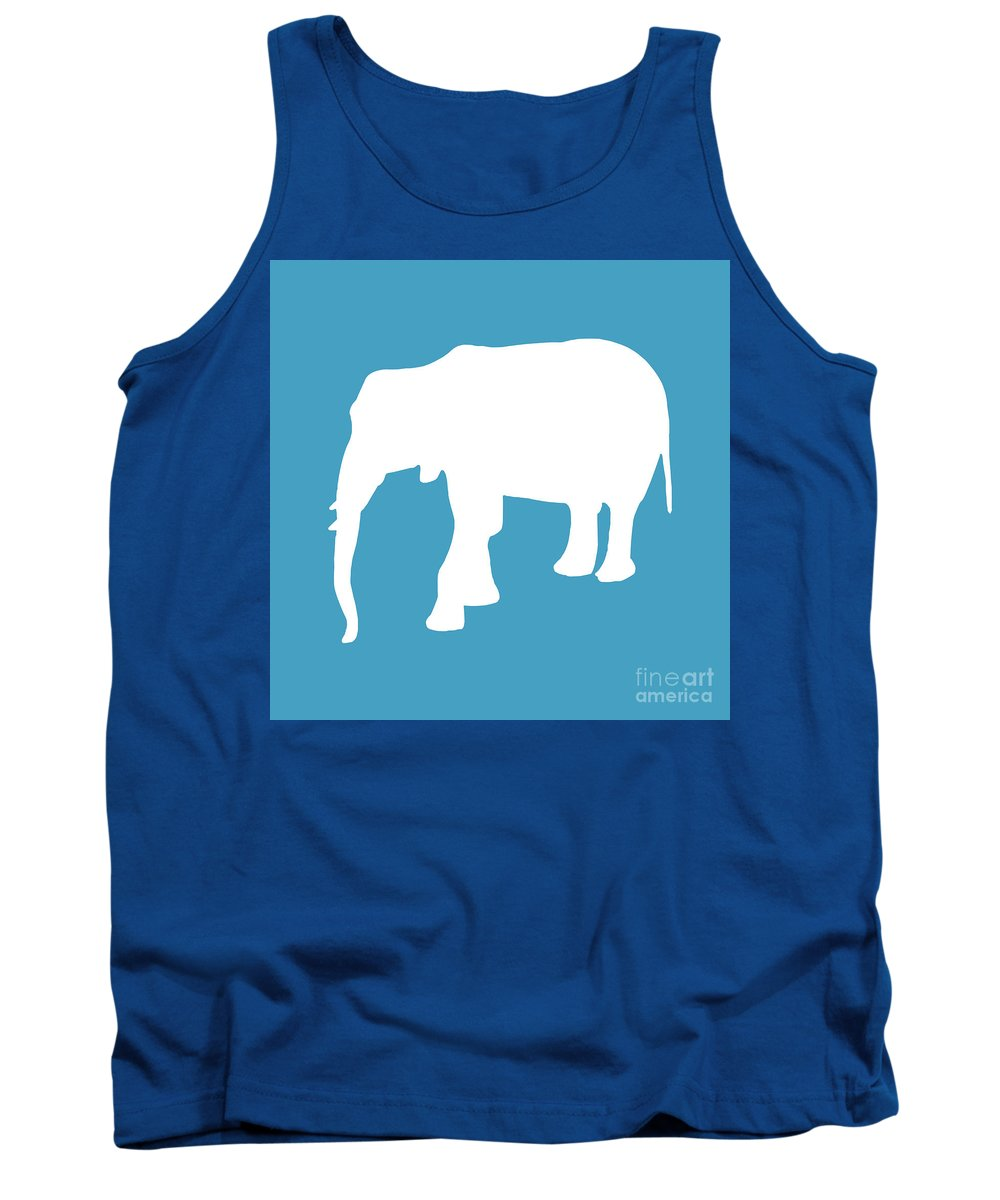 Graphic Art Tank Top featuring the digital art Elephant In White And Turquoise by Jackie Farnsworth