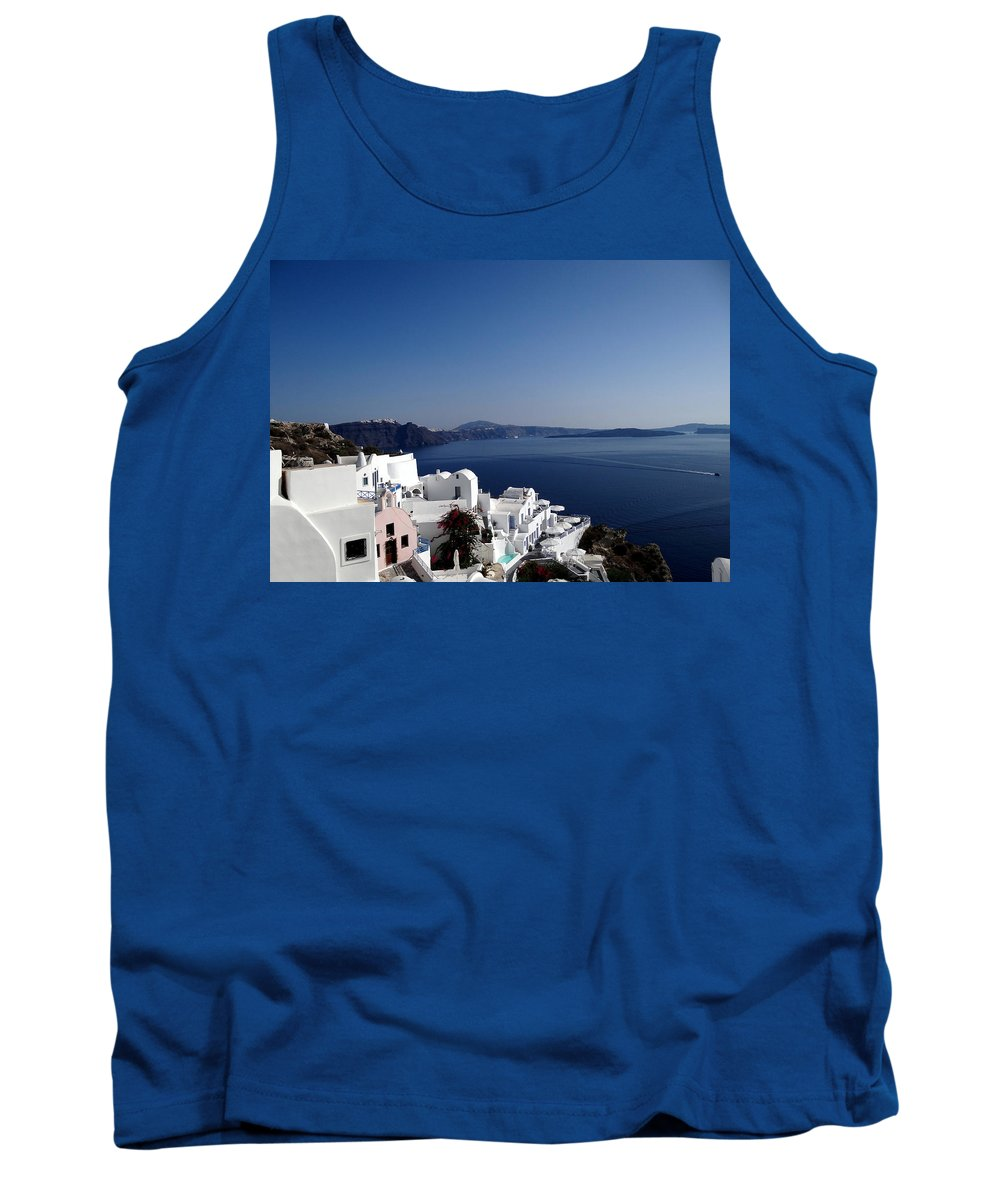 Santorini Tank Top featuring the photograph Views Of Santorini Greece by Richard Rosenshein