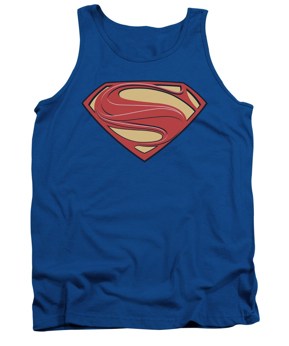 Man Of Steel Tank Top featuring the digital art Man Of Steel - New Solid Shield by Brand A