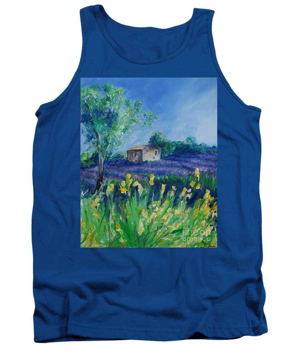 Provence Tank Top featuring the painting Provence Lavender Field by Eric Schiabor