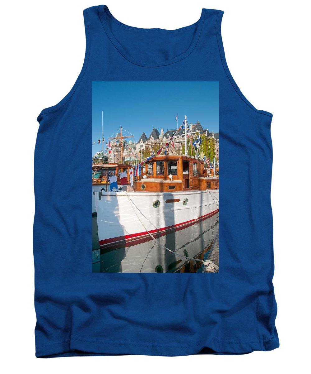 Boats Tank Top featuring the digital art Victoria Wooden Boat Show by Carol Ailles