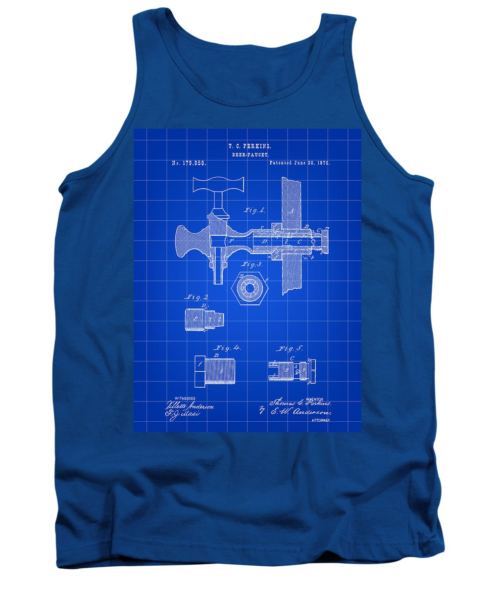 Beer Tank Top featuring the digital art Beer Tap Patent 1876 - Blue by Stephen Younts
