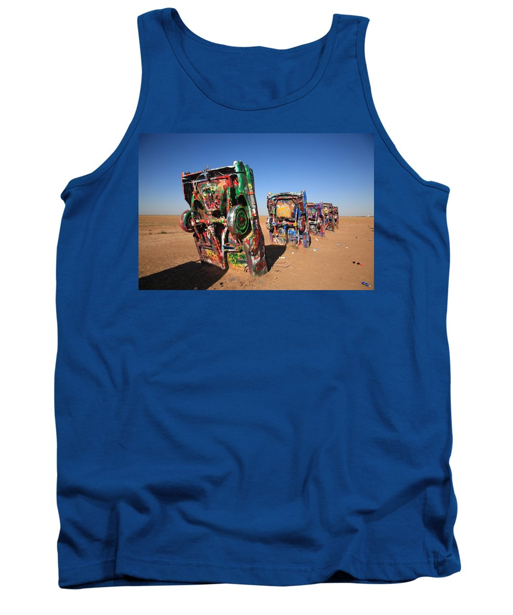 66 Tank Top featuring the photograph Route 66 - Cadillac Ranch by Frank Romeo