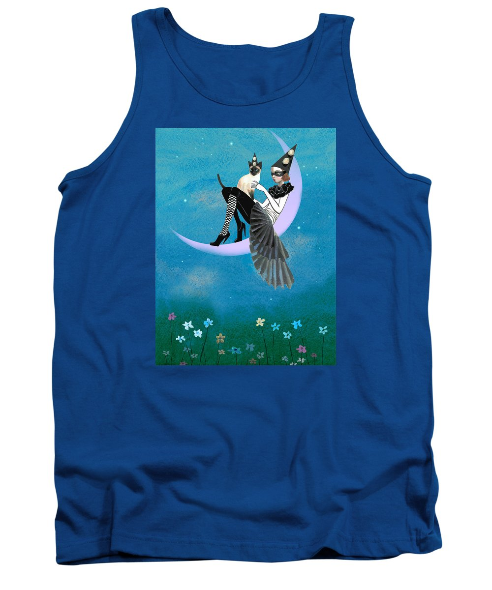 Cat Tank Top featuring the painting A Moon Cat by Victoria Fomina