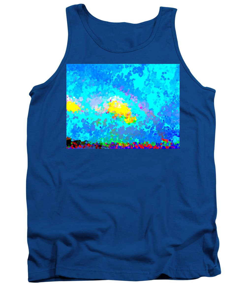 Rainbow Tank Top featuring the painting Abstract Rainbow And Clouds by Bruce Nutting