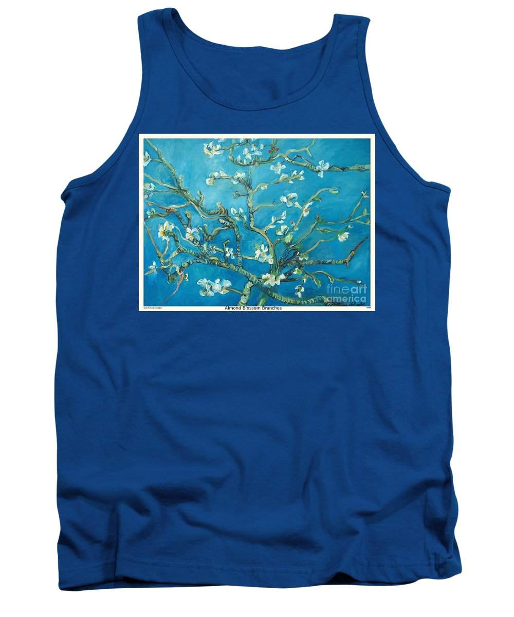 Almond Blossom Branches Tank Top featuring the painting Almond Blossom Branches Print by Eric Schiabor