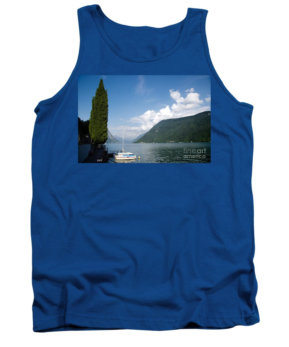 Lake Tank Top featuring the photograph Alpine Lake With A Cypress Tree by Mats Silvan