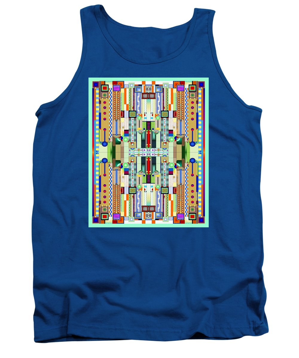 Art Deco Stained Glass Tank Top featuring the digital art Art Deco Stained Glass 2 by Ellen Henneke