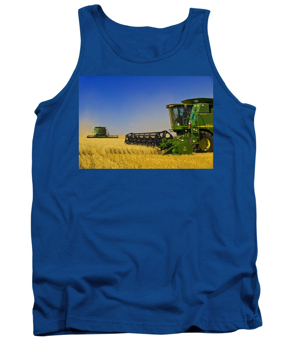 Tank Top featuring the photograph Artists Choice Two Combine Harvesters by First Light