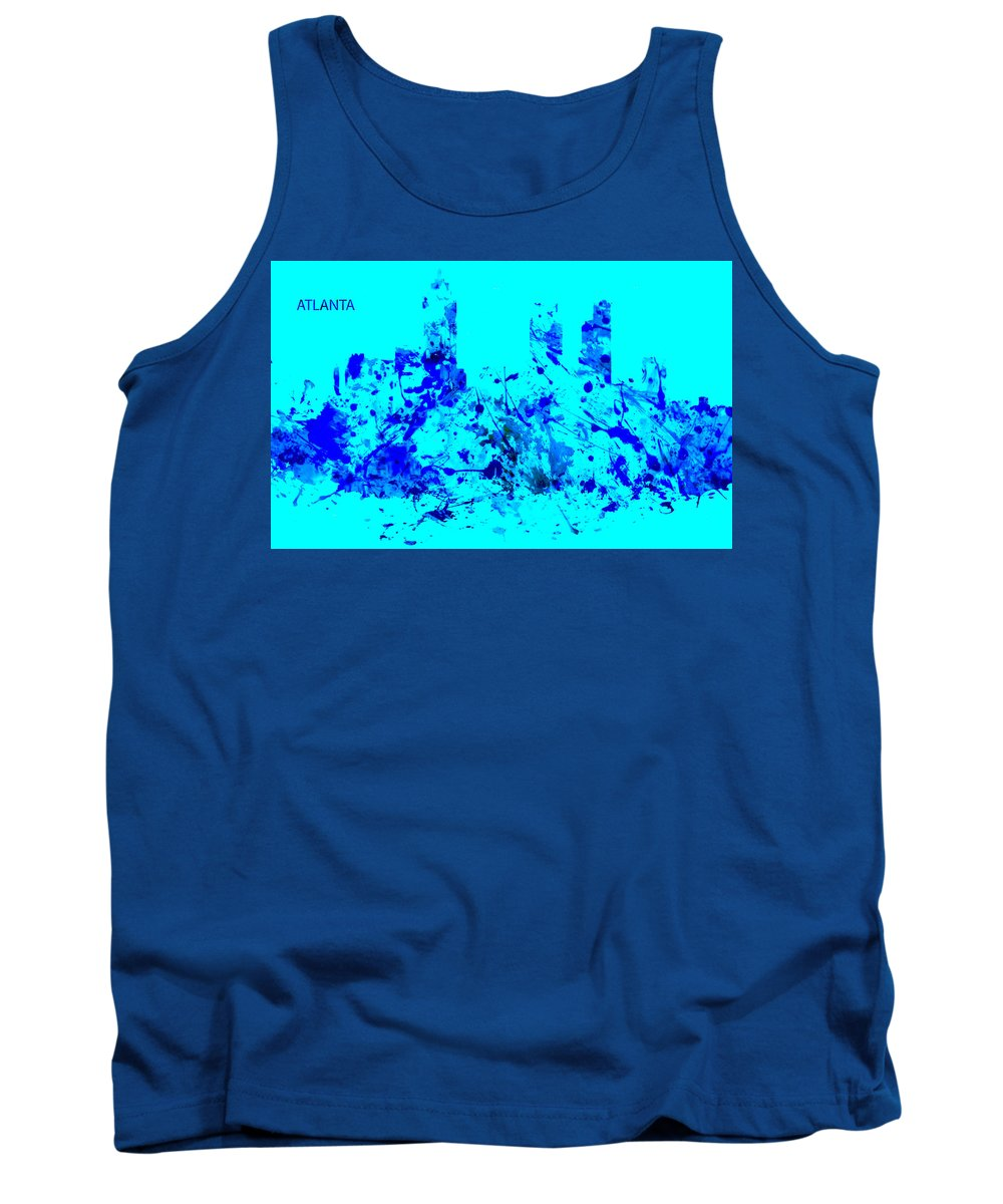 Skyline Tank Top featuring the painting Atlanta Skyline 2 by Brian Reaves