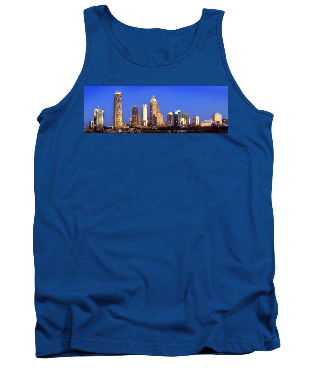 Atlanta Tank Top featuring the photograph Atlanta Skyline At Dusk Midtown Color Panorama by Jon Holiday
