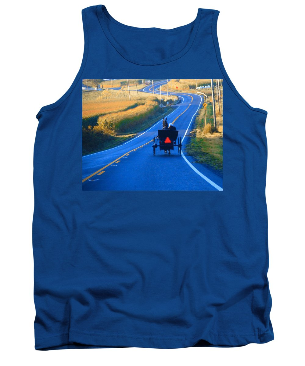 Autumn Amish Buggy Ride Tank Top featuring the photograph Autumn Amish Buggy Ride by Dan Sproul