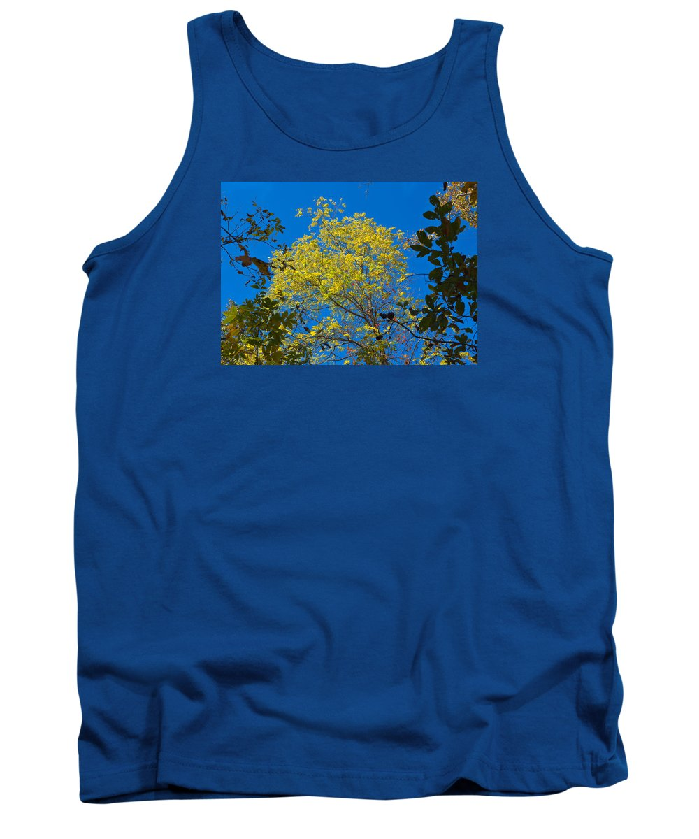 Sky Tank Top featuring the photograph Autumn Colors Against The Sky by John M Bailey