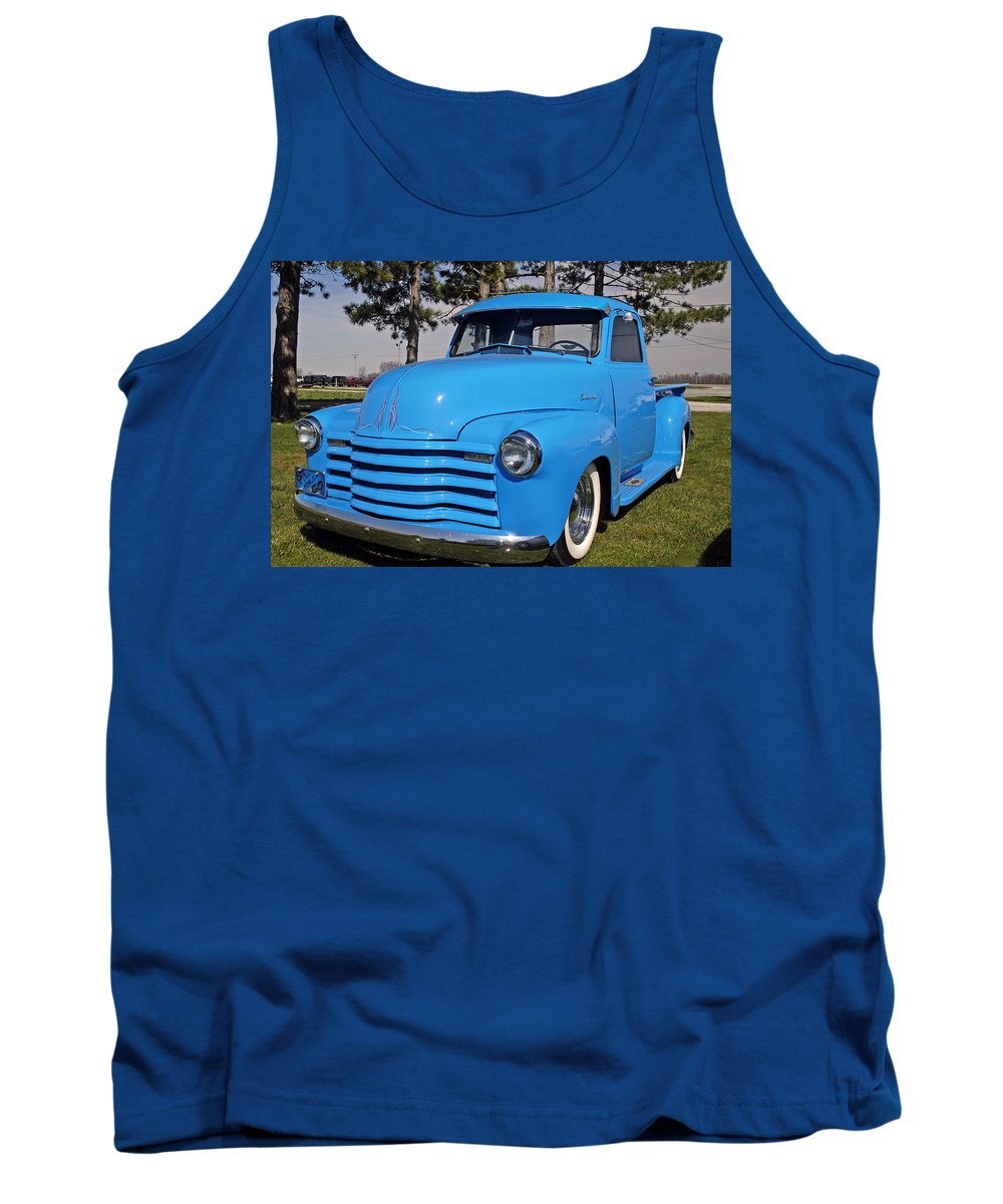 Chevy Pickup Tank Top featuring the photograph Baby Blue Chevy From 1950 by Randall Branham