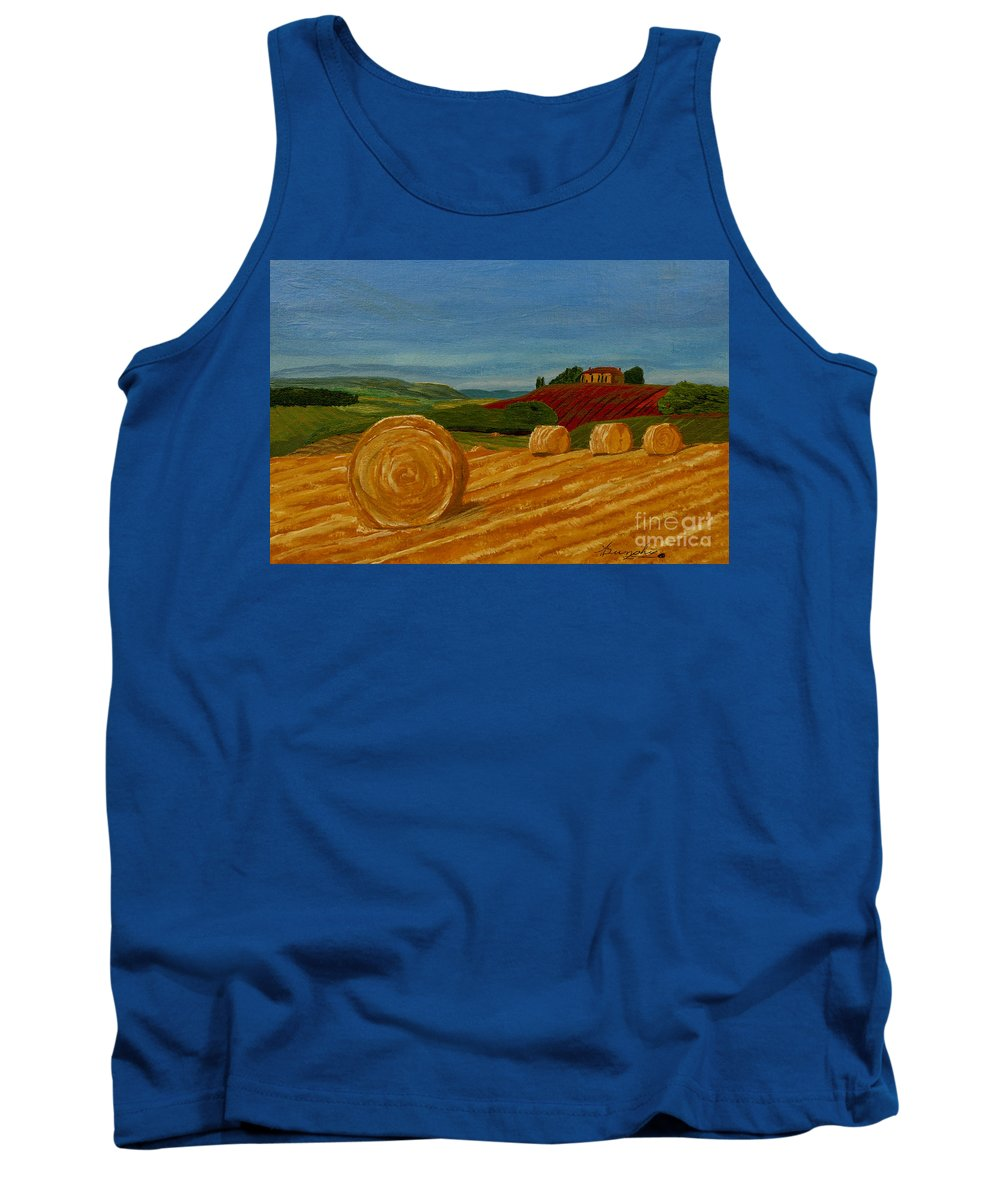 Hay Tank Top featuring the painting Field Of Golden Hay by Anthony Dunphy