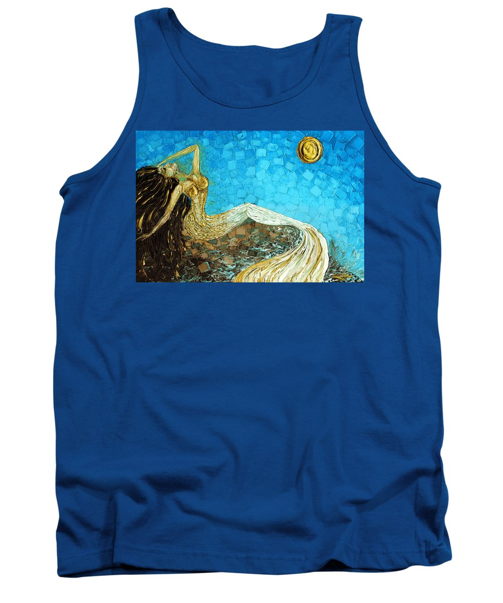 Mermaid Tank Top featuring the painting Basking by Susanna Shaposhnikova