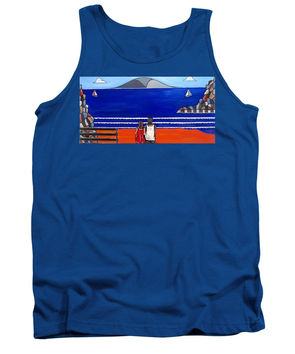 New Zealand Art Tank Top featuring the painting Beach Beach Day Three by Sandra Marie Adams