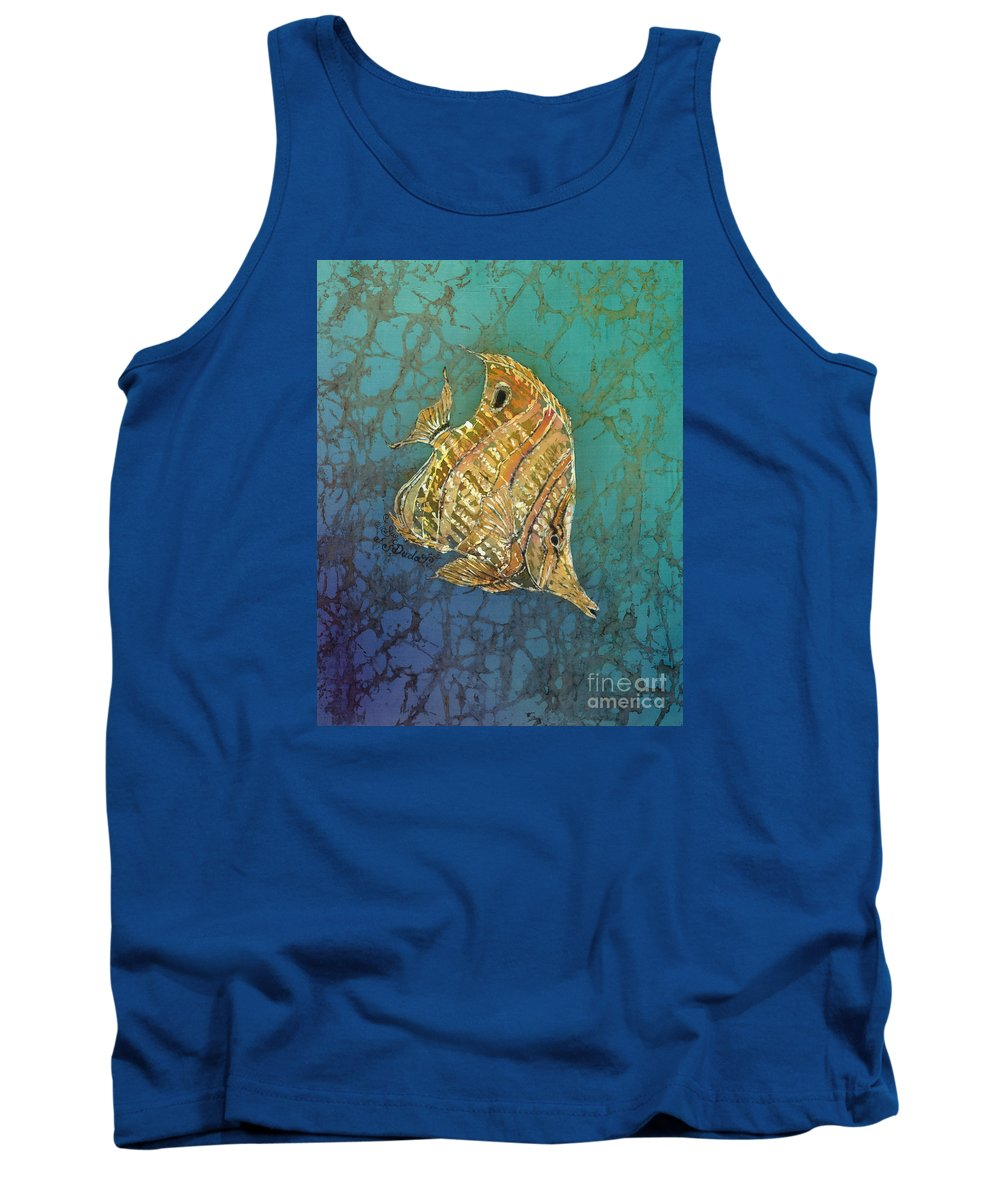 Fish Tank Top featuring the painting Beaked Butterflyfish by Sue Duda
