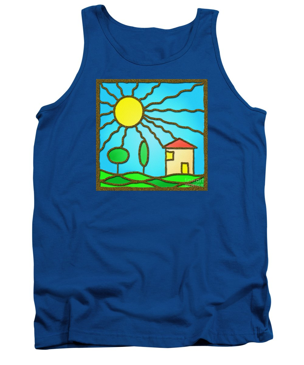 Landscape Tank Top featuring the digital art Beautyful Day by Grigorios Moraitis