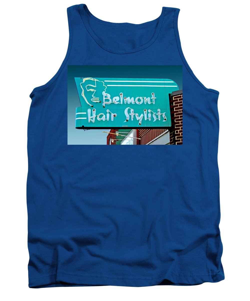 Mid Century Tank Top featuring the photograph Belmont Hair Stylists by Larry Hunter