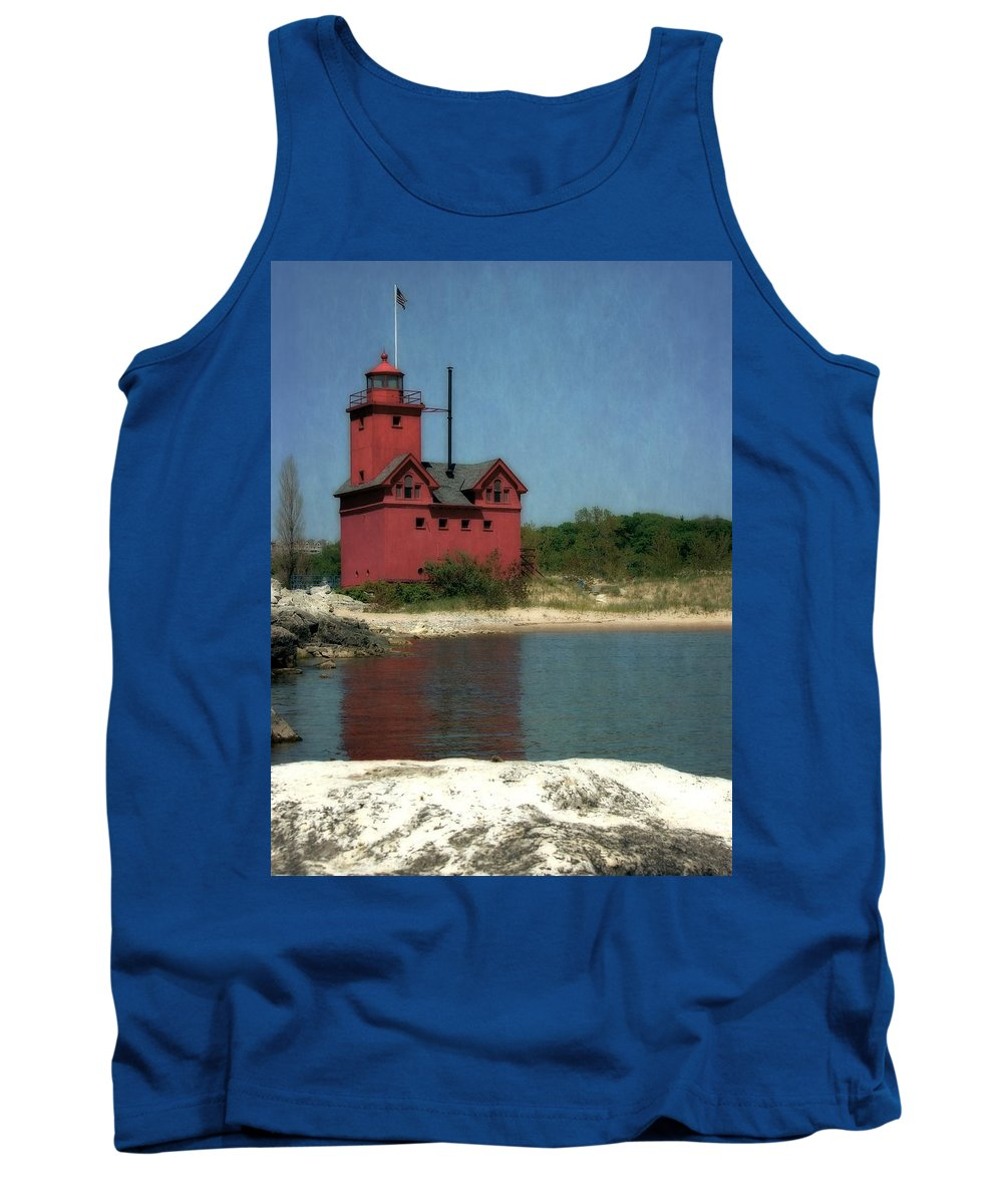 Michigan Tank Top featuring the photograph Big Red Holland Michigan Lighthouse by Michelle Calkins