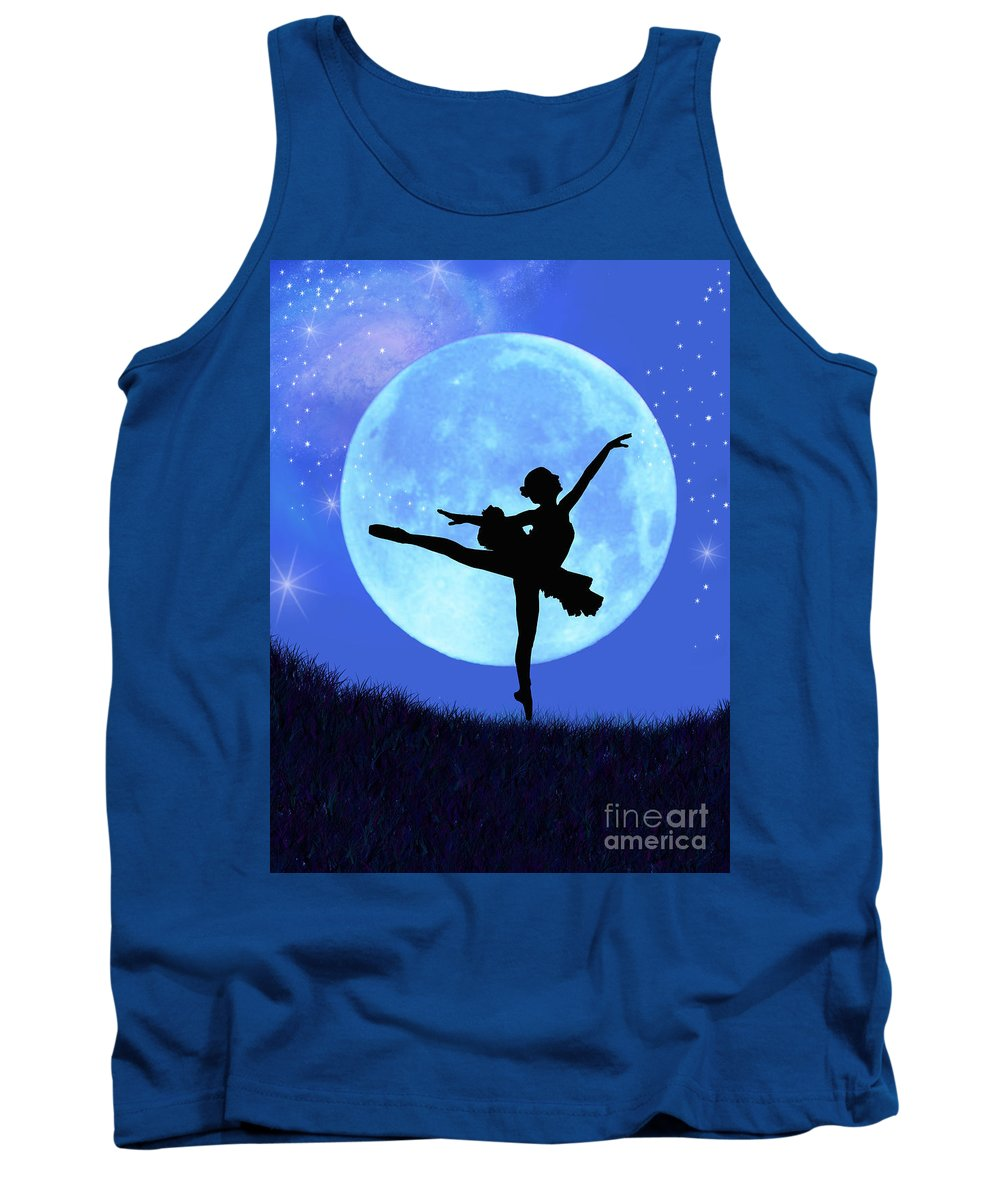 Ballet Tank Top featuring the digital art Blue Moon Ballerina by Alixandra Mullins