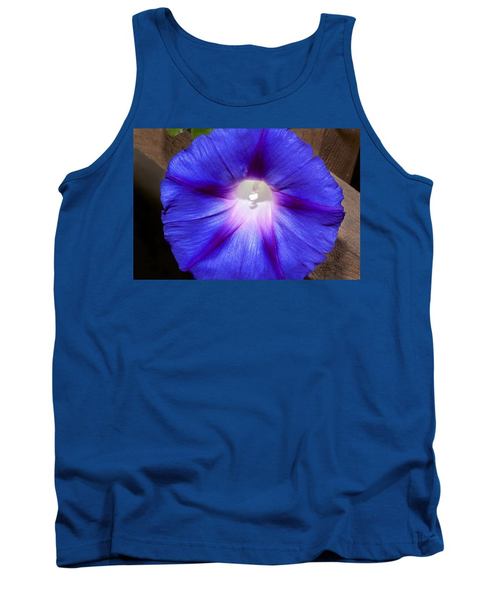 Flower Tank Top featuring the photograph Blue Morning Glory by Phyllis Denton