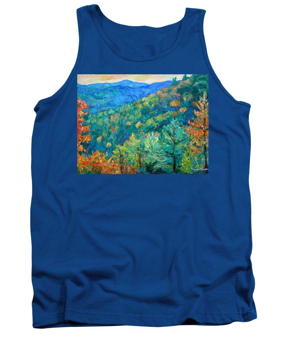 Blue Ridge Mountains Tank Top featuring the painting Blue Ridge Autumn by Kendall Kessler